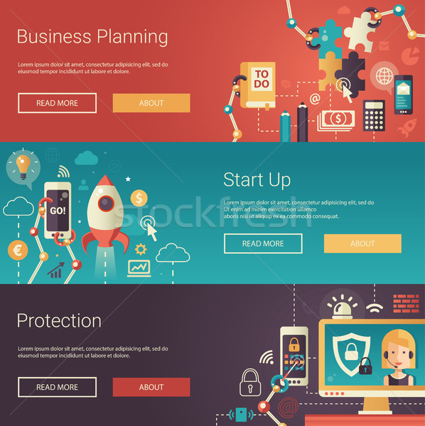Set of modern flat design business banners, headers with icons and infographics elements. Planning,  Stock photo © Decorwithme