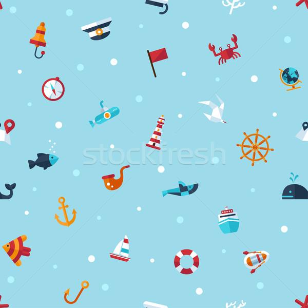 Illusztráció klasszikus terv modern tengerészeti tengeri Stock fotó © Decorwithme
