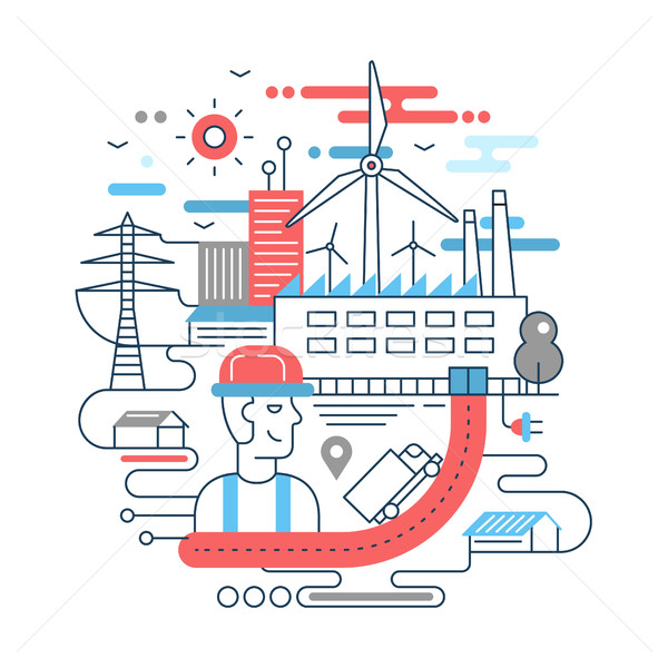Line flat design city composition with factory buildings, alternative energy  Stock photo © Decorwithme