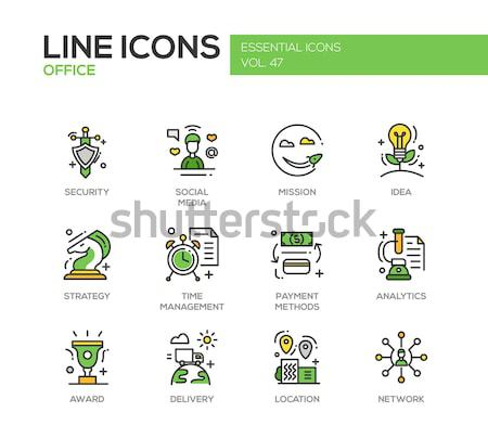 Computer Attacks - line design icons set Stock photo © Decorwithme