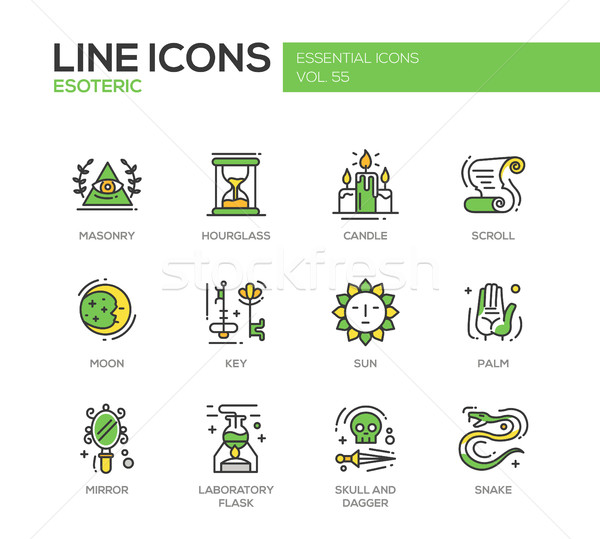 Esoteric - line design icons set Stock photo © Decorwithme