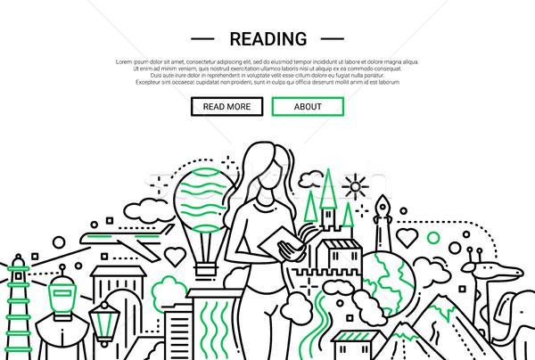 Lezing lijn ontwerp website banner illustratie Stockfoto © Decorwithme