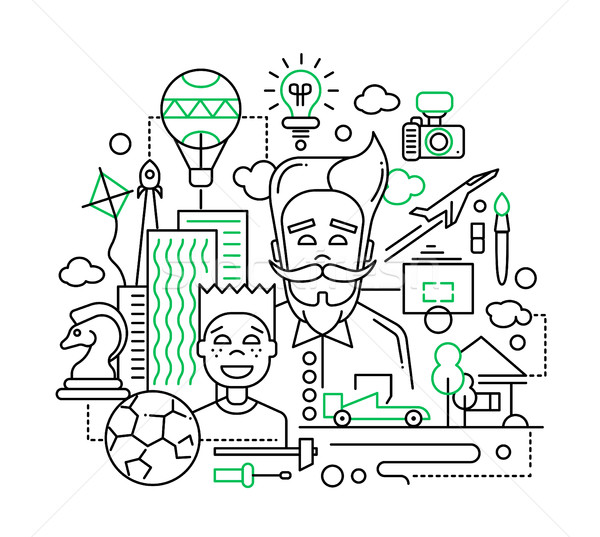 Common interests, hobbies - father and son line design illustration Stock photo © Decorwithme