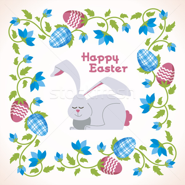 Happy Easter - modern vector square card Stock photo © Decorwithme