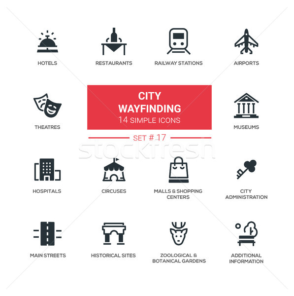 City wayfinding - modern simple icons, pictograms set Stock photo © Decorwithme