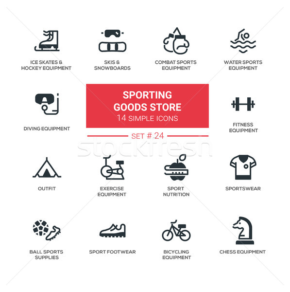 Sporting goods store - modern simple icons, pictograms set Stock photo © Decorwithme