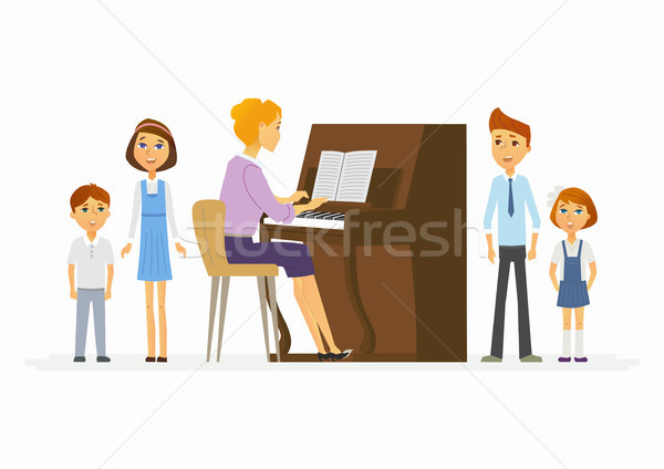 Music lesson at school - modern cartoon people characters illustration Stock photo © Decorwithme