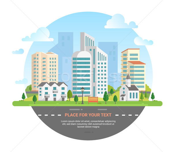 Cityscape with a place for text - modern vector illustration Stock photo © Decorwithme