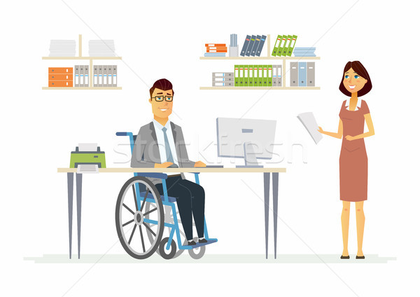 Person with disabilities at work - modern cartoon people characters illustration Stock photo © Decorwithme