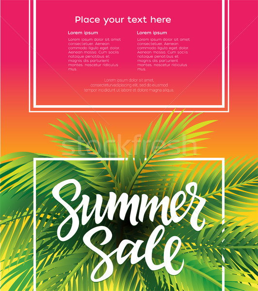 Hello Summer - vector leaflet template with brush pen lettering Stock photo © Decorwithme