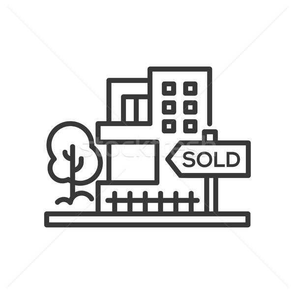 Eladva felirat vonal terv izolált ikon Stock fotó © Decorwithme