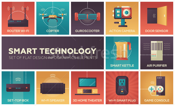 Smart technologie ingesteld ontwerp infographics communie Stockfoto © Decorwithme