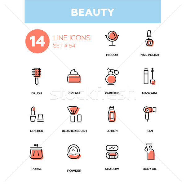 Fashion concept, beauty - line design icons set Stock photo © Decorwithme