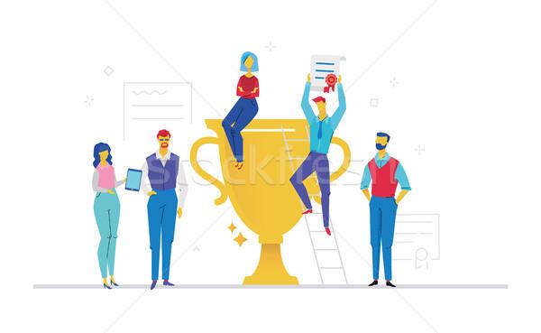 Collega's vieren overwinning ontwerp stijl kleurrijk Stockfoto © Decorwithme
