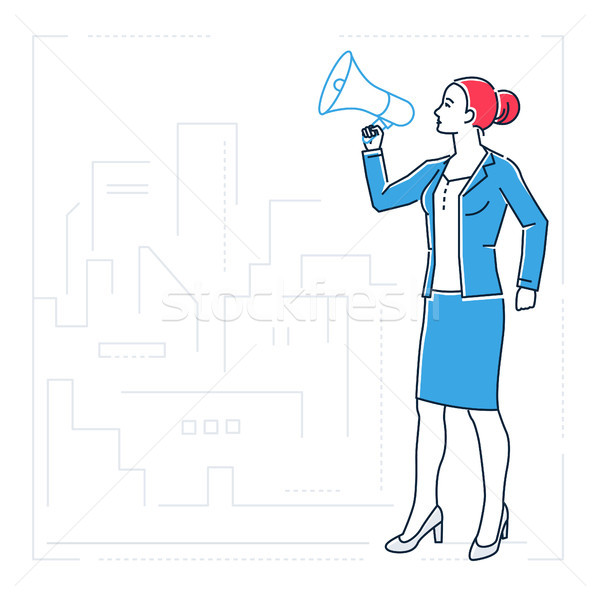 Businesswoman with a megaphone - line design style isolated illustration Stock photo © Decorwithme