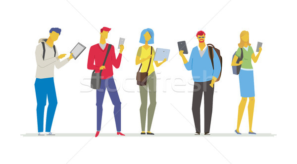 Students with gadgets - flat design style colorful illustration Stock photo © Decorwithme