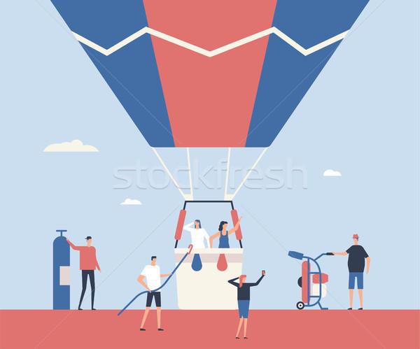 Luchtballon reis ontwerp stijl illustratie hoog Stockfoto © Decorwithme