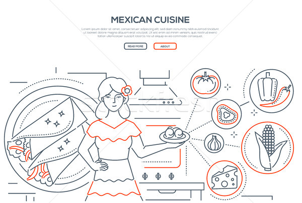 Mexican cuisine - line design style banner Stock photo © Decorwithme