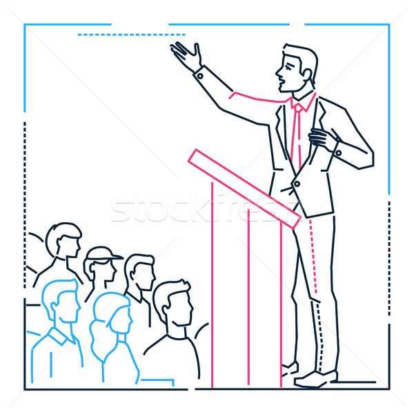 Businessman speaking from a platform - line design style illustration Stock photo © Decorwithme