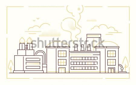 Ville usine modernes léger ligne design Photo stock © Decorwithme