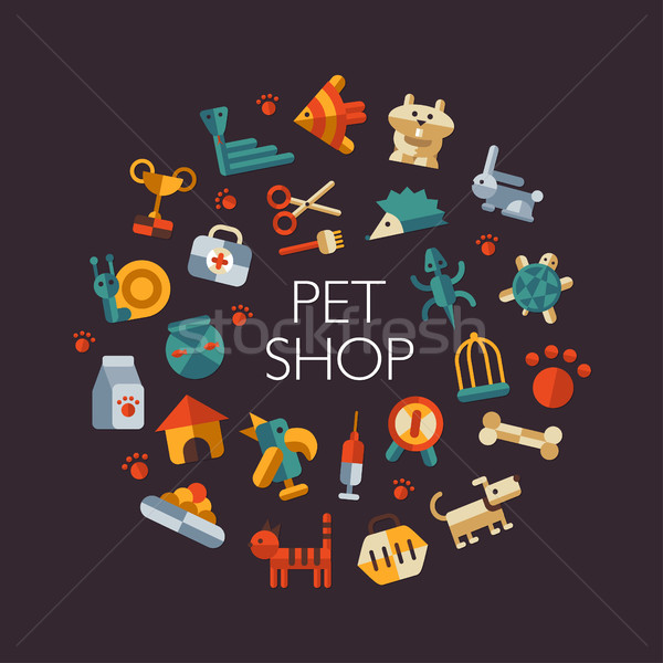 Ingesteld ontwerp huisdier winkel vector Stockfoto © Decorwithme