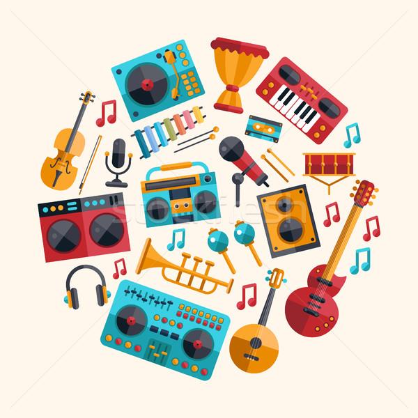 Establecer moderna diseno instrumentos musicales música herramientas Foto stock © Decorwithme