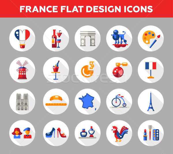 France travel icons and elements with famous French symbols  Stock photo © Decorwithme