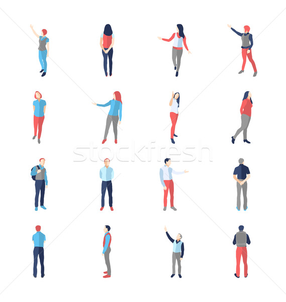 People, male, female, in different showing and browsing poses Stock photo © Decorwithme