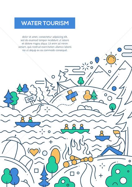 Agua turismo línea diseno folleto anunciante Foto stock © Decorwithme