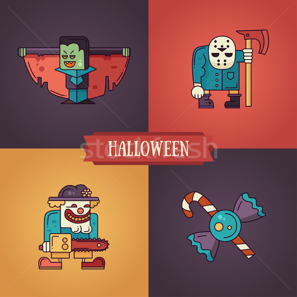 Stock photo: Halloween characters line flat design modern icons set