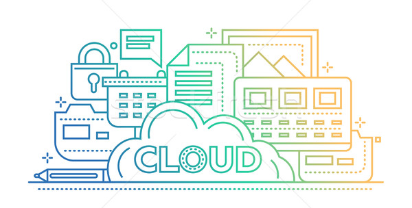 Cloud Storage Technology - flat line design website banner Stock photo © Decorwithme