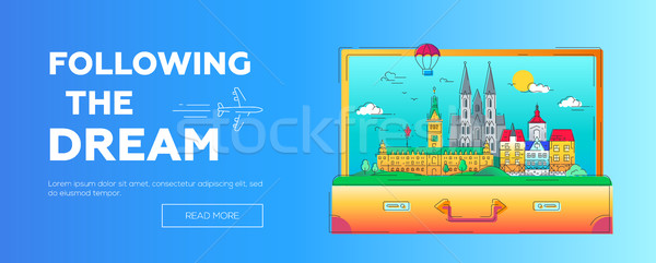 Following the Dream - vector line travel web page header illustration Stock photo © Decorwithme