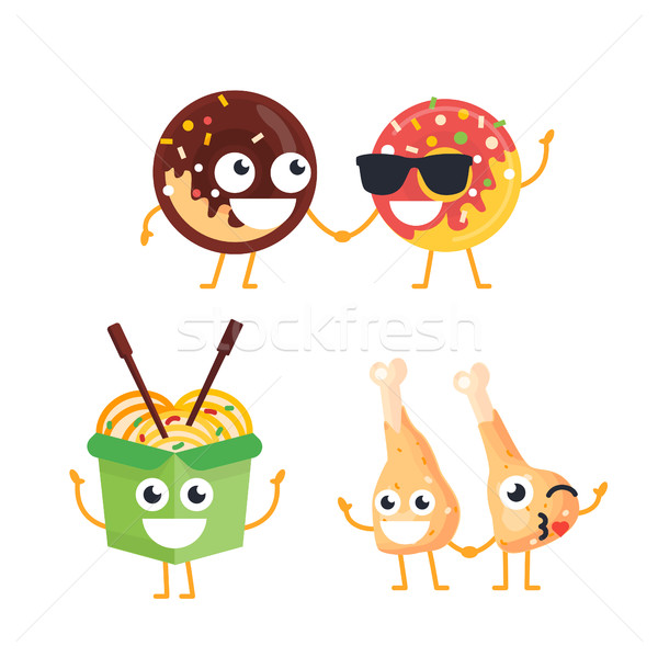 Fast Food Characters - vector set of mascot illustrations. Stock photo © Decorwithme