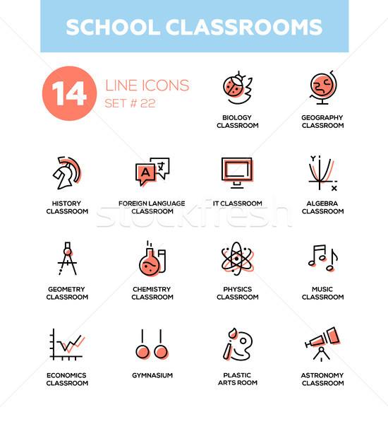 Szkoły nowoczesne proste ikona piktogramy zestaw Zdjęcia stock © Decorwithme