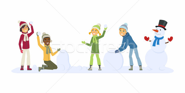 Happy international children play outdoors - cartoon people characters illustration Stock photo © Decorwithme