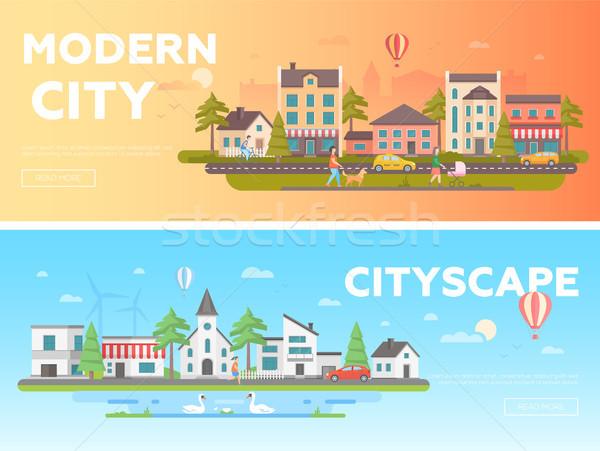 Foto stock: Cityscape · conjunto · moderno · vetor · ilustrações · lugar