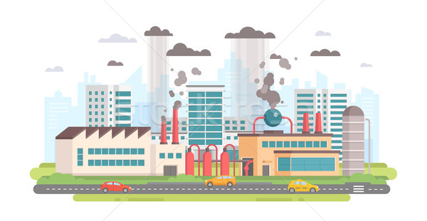 Cityscape with a factory - modern flat design style vector illustration Stock photo © Decorwithme