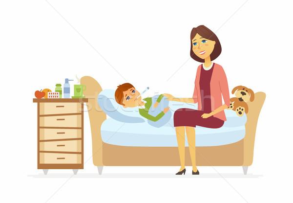 Anya beteg fiú rajzolt emberek betűk illusztráció Stock fotó © Decorwithme