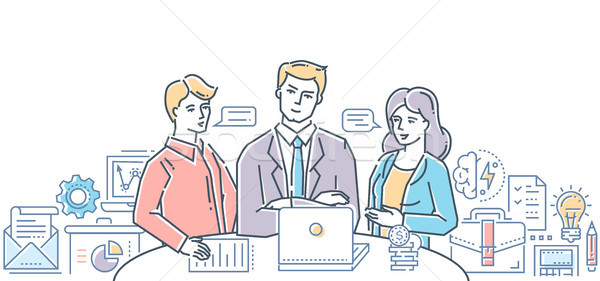 Business meeting with chief - modern flat design style colorful illustration Stock photo © Decorwithme