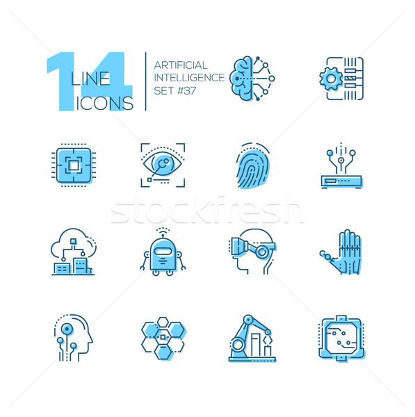 Сток-фото: искусственный · интеллект · набор · линия · дизайна · стиль · иконки