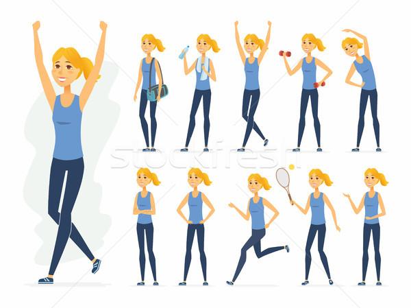 Sportoló vektor rajzolt emberek karakter szett izolált Stock fotó © Decorwithme