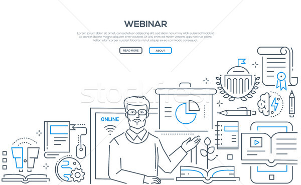 Webinar line Design Stil Illustration weiß Stock foto © Decorwithme