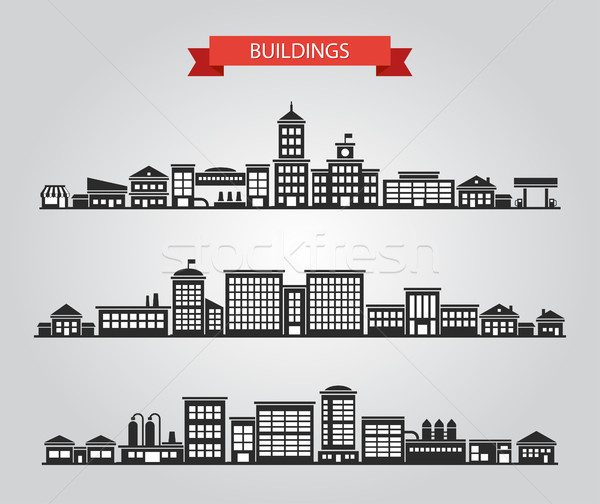 Set of flat design buildings pictograms Stock photo © Decorwithme