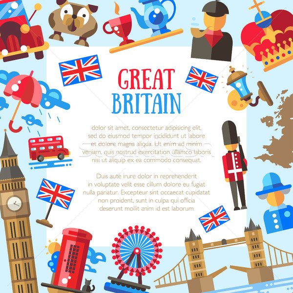 Great Britain travel card template with famous British symbols Stock photo © Decorwithme