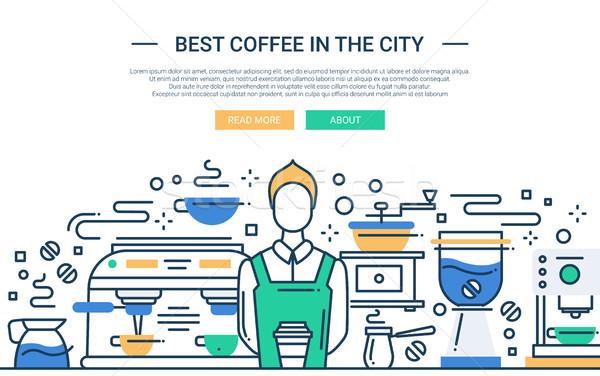 лучший кофейня город сайт баннер иллюстрация Сток-фото © Decorwithme