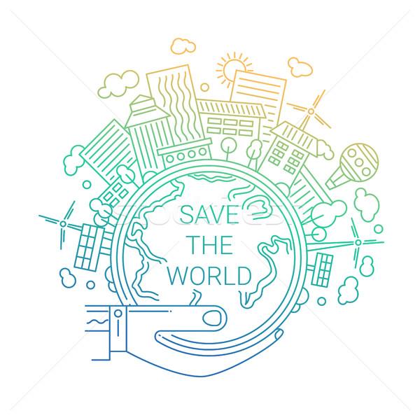 Mettre monde écologie ligne design illustration Photo stock © Decorwithme