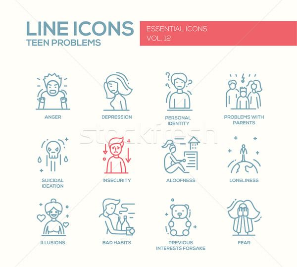 Teen problems- line design icons set Stock photo © Decorwithme