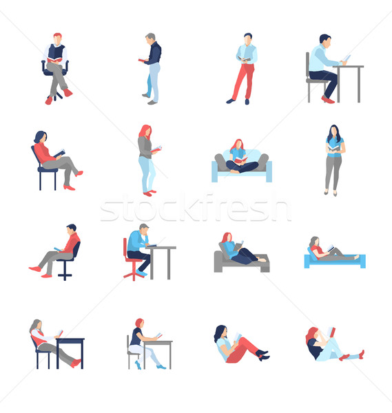 People, male, female, in different casual common reading poses Stock photo © Decorwithme