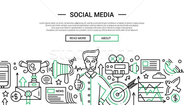 Stock fotó: Közösségi · média · vonal · terv · weboldal · szalag · illusztráció