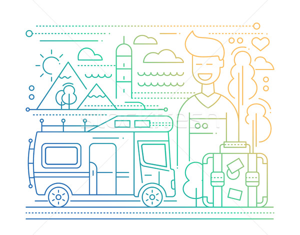Caravan Tourism - line flat design illustration Stock photo © Decorwithme